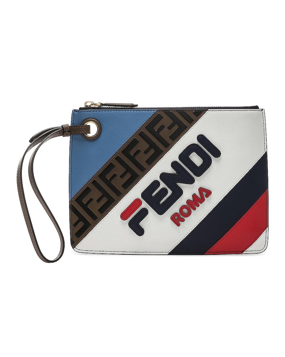 Image 1 of Fendi x FILA Small Logo Pouch in White & Multicolor