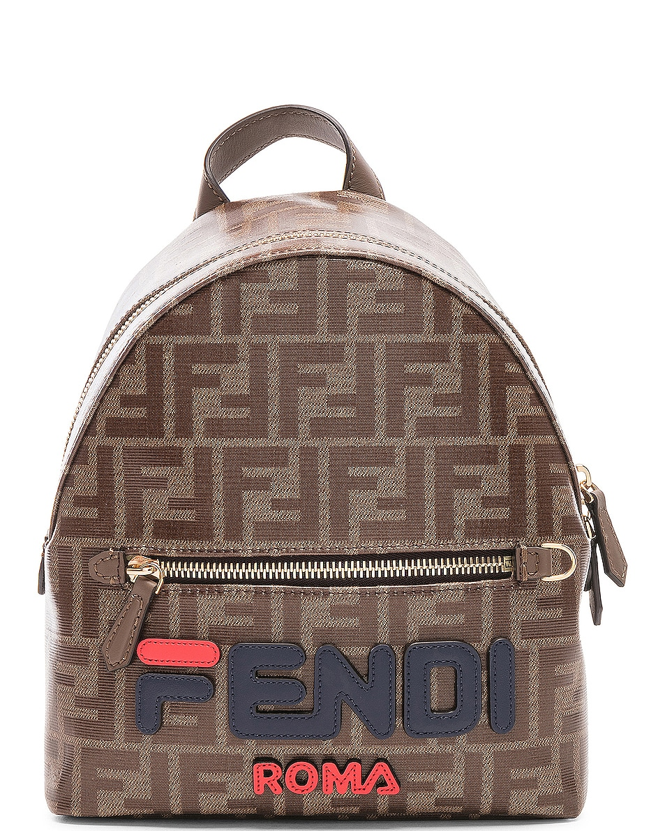 Image 1 of Fendi x FILA Small Logo Backpack in Brown