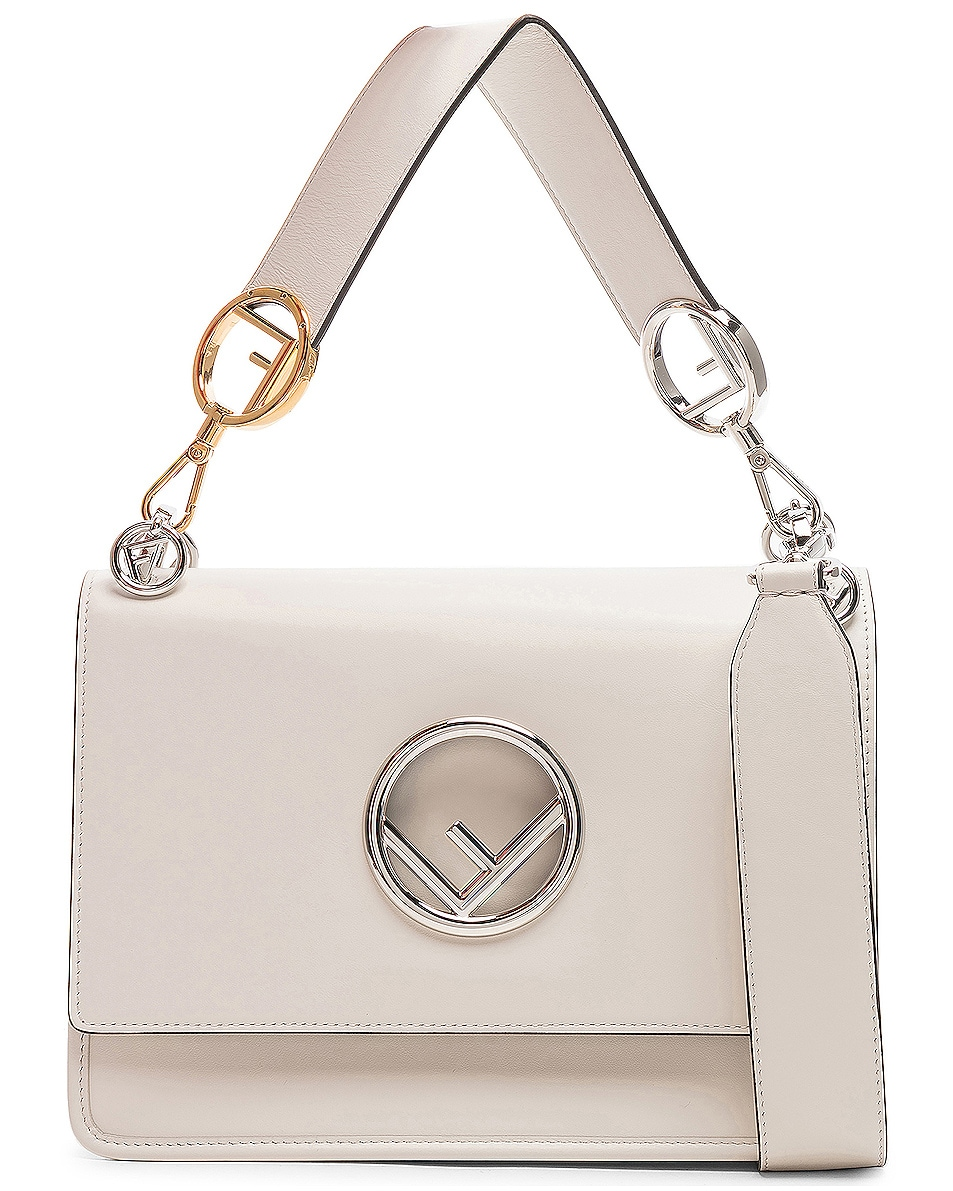 Image 1 of Fendi Logo Flap Bag in Grey