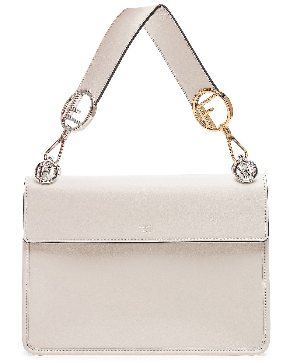 Image 3 of Fendi Logo Flap Bag in Grey