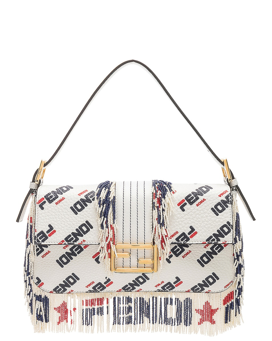Image 1 of Fendi x FILA Logo Beaded Trim Baguette in White