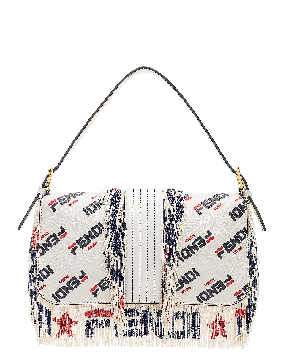 Image 3 of Fendi x FILA Logo Beaded Trim Baguette in White