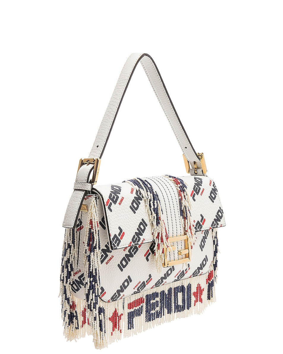 Image 4 of Fendi x FILA Logo Beaded Trim Baguette in White
