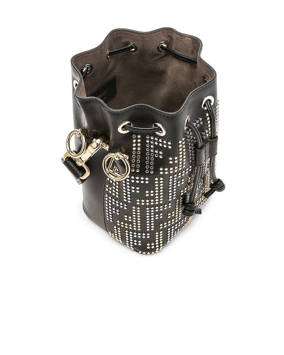 Image 5 of Fendi Mini Logo Studded Mon Tresor in Black, Gold & Palladium