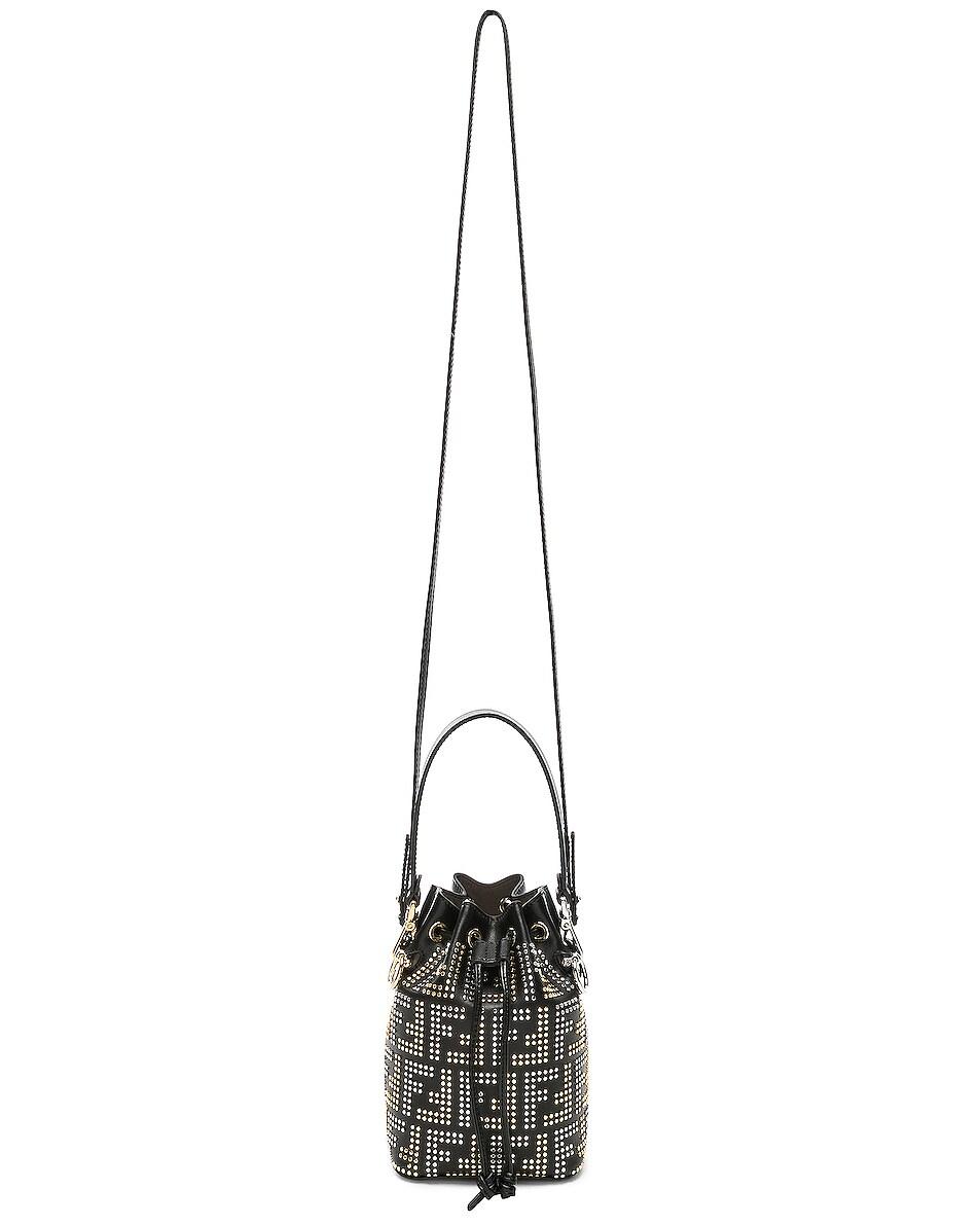 Image 6 of Fendi Mini Logo Studded Mon Tresor in Black, Gold & Palladium