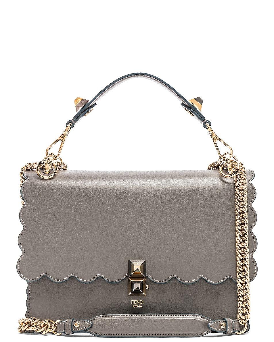 Image 1 of Fendi Scallop Chain Crossbody Bag in Grey