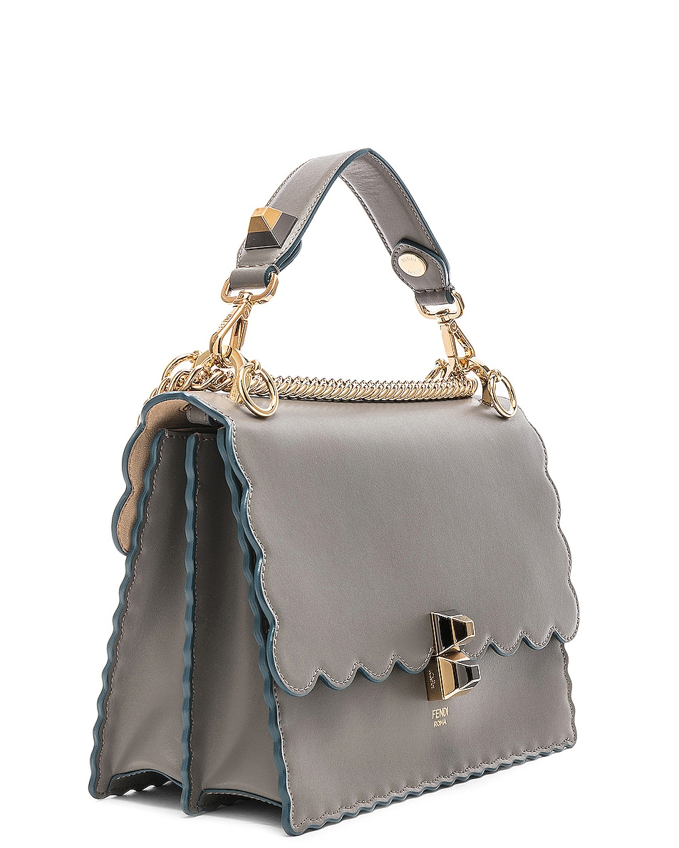 Image 4 of Fendi Scallop Chain Crossbody Bag in Grey