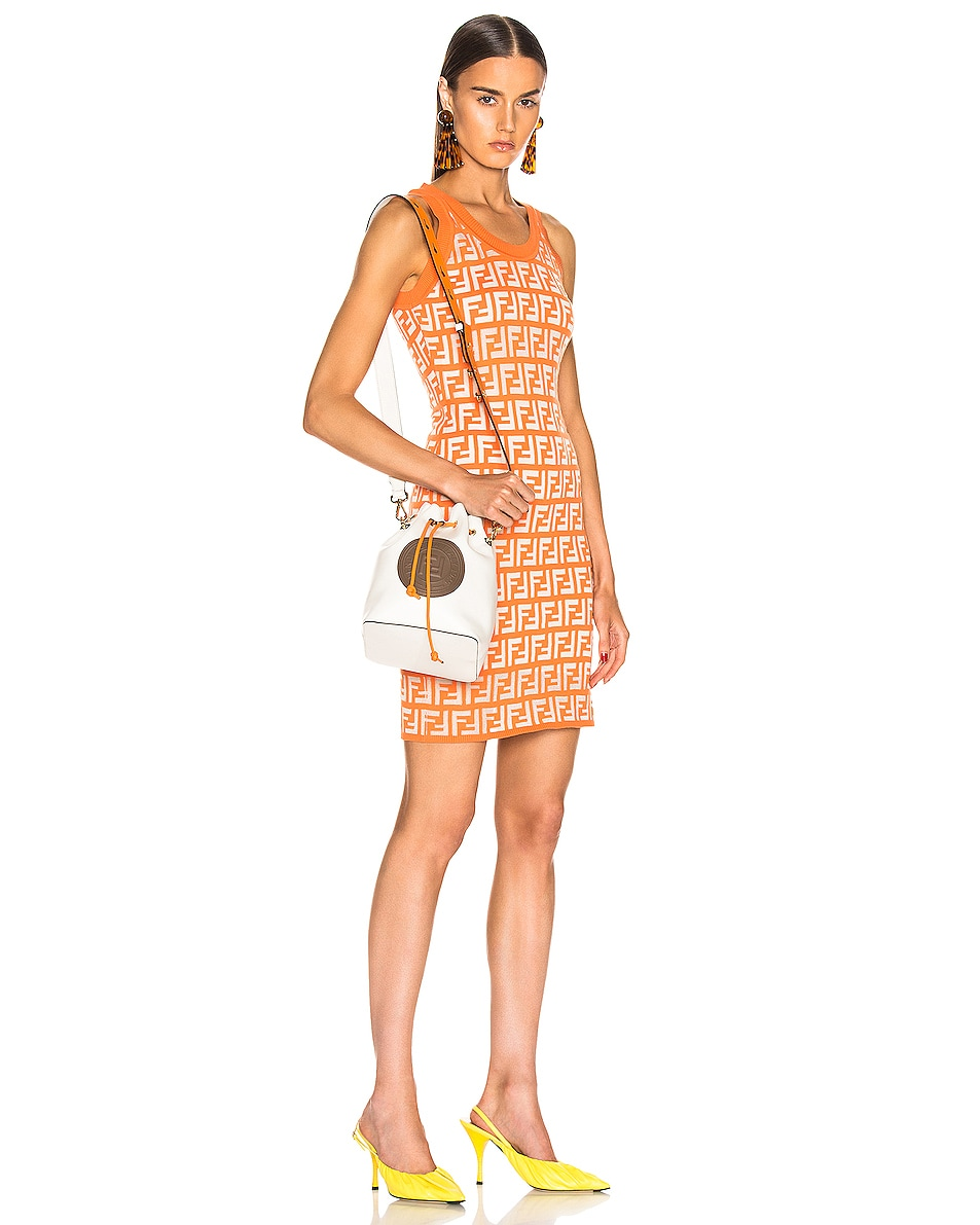 Image 2 of Fendi Mon Tresor Colorblock Crossbody Bag in Ice White & Orange