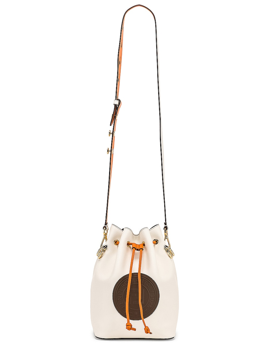 Image 6 of Fendi Mon Tresor Colorblock Crossbody Bag in Ice White & Orange