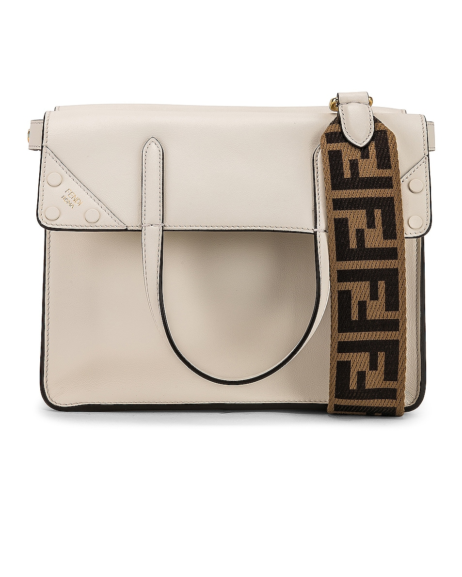 Image 1 of Fendi Small Flip Crossbody Bag in Ice White