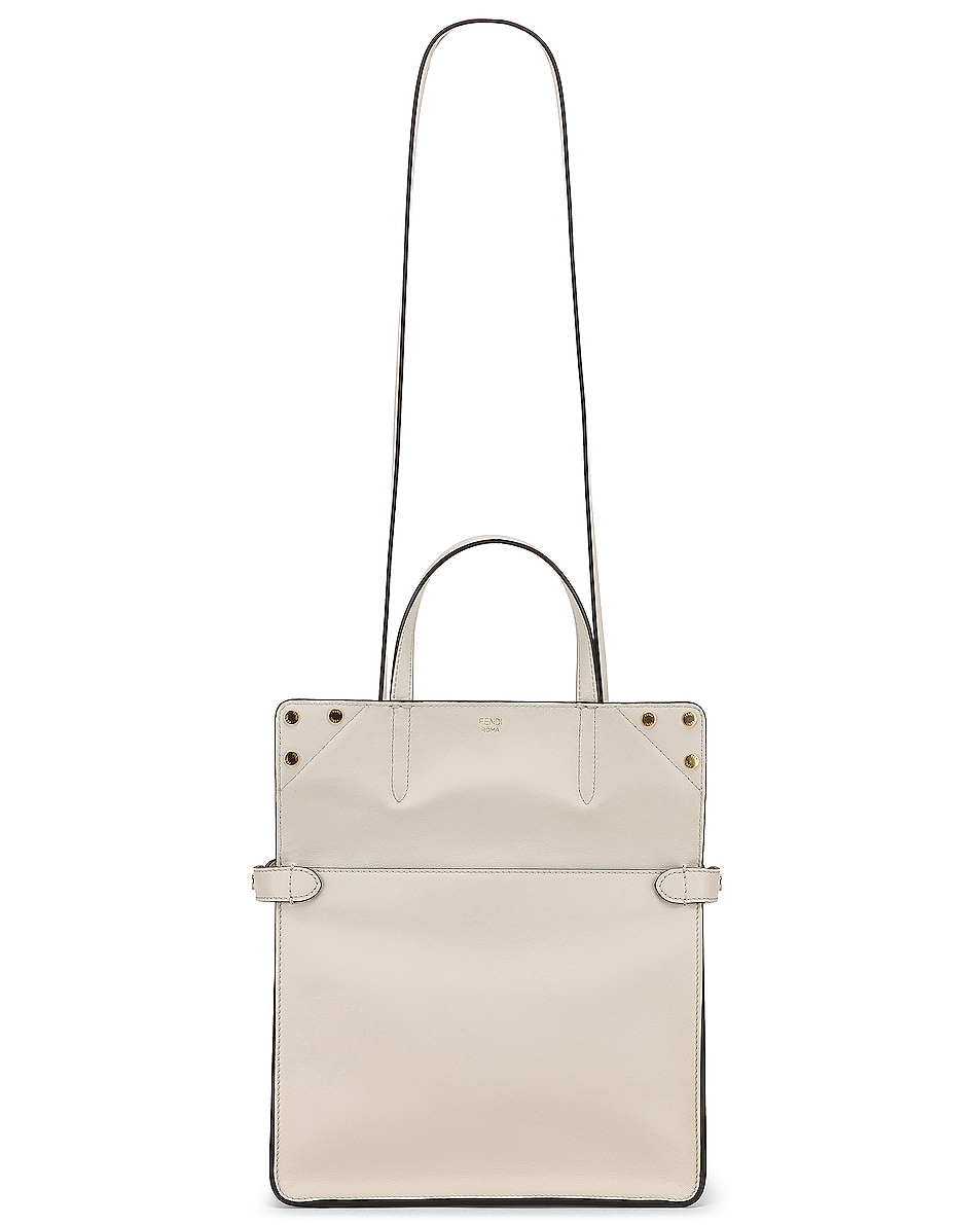 Image 6 of Fendi Small Flip Crossbody Bag in Ice White