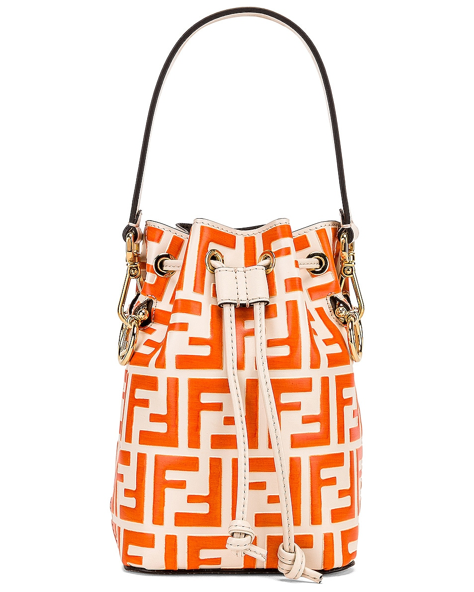 Image 1 of Fendi Mini Logo Mon Tresor in Cream & Orange