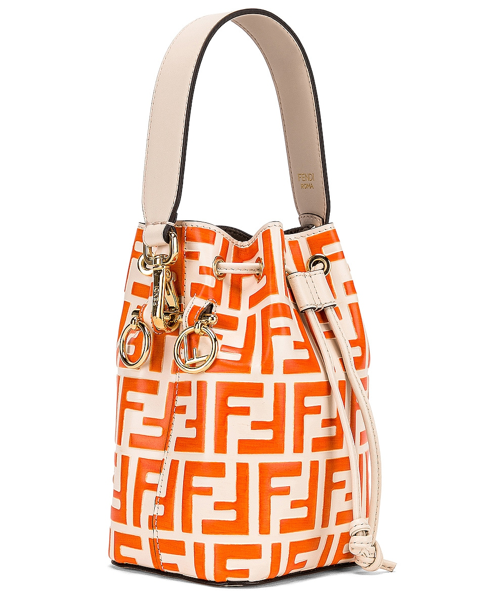 Image 4 of Fendi Mini Logo Mon Tresor in Cream & Orange