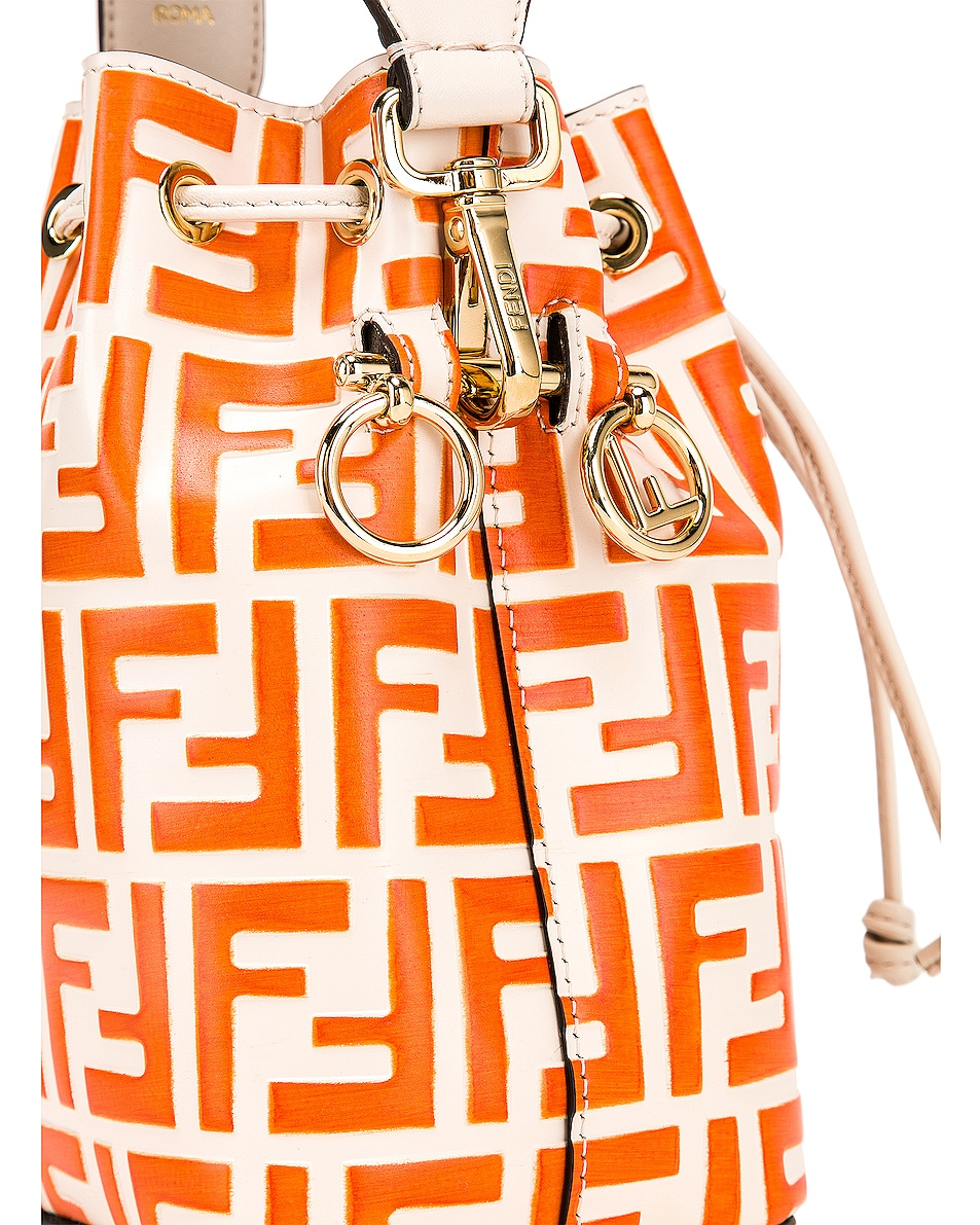 Image 8 of Fendi Mini Logo Mon Tresor in Cream & Orange
