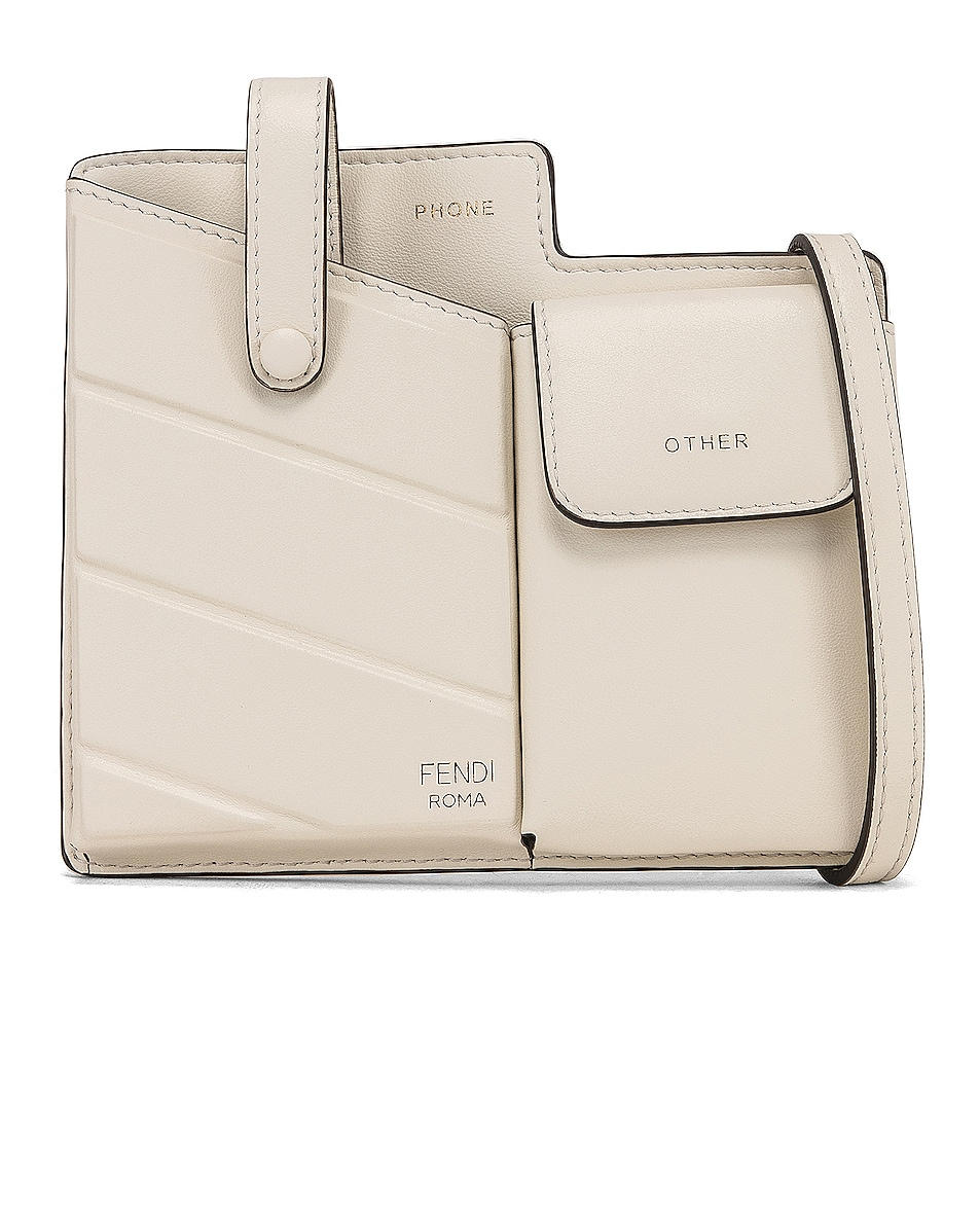 Image 1 of Fendi Mini Two Pocket Crossbody Bag in Ice White