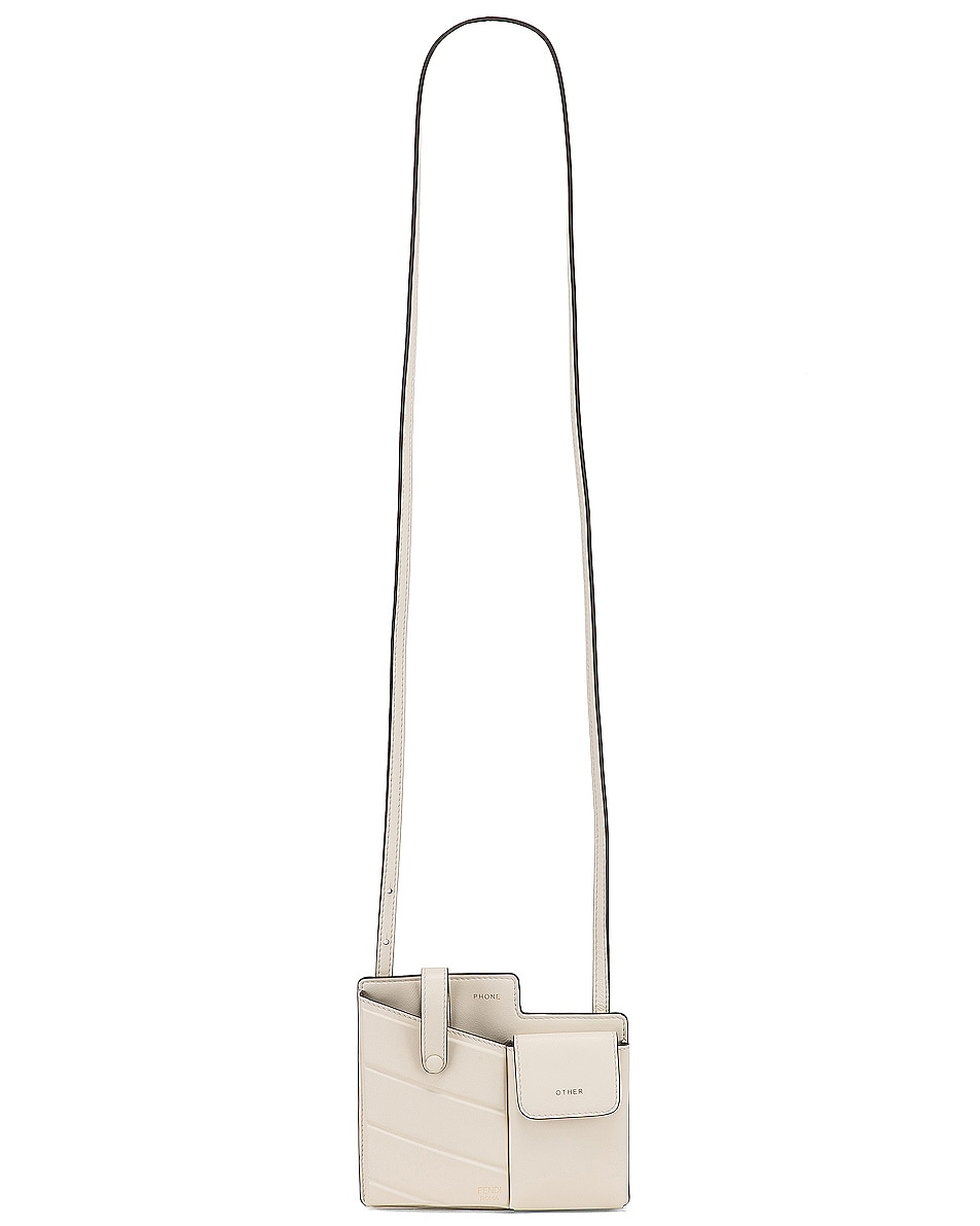 Image 6 of Fendi Mini Two Pocket Crossbody Bag in Ice White