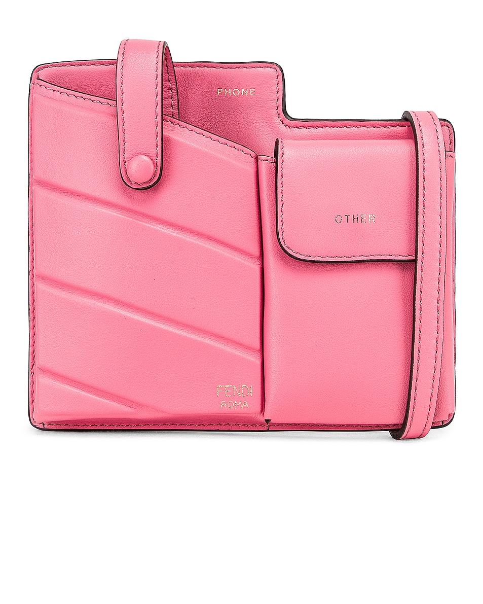 Image 1 of Fendi Mini Bustine Two Pocket Crossbody Bag in Pink