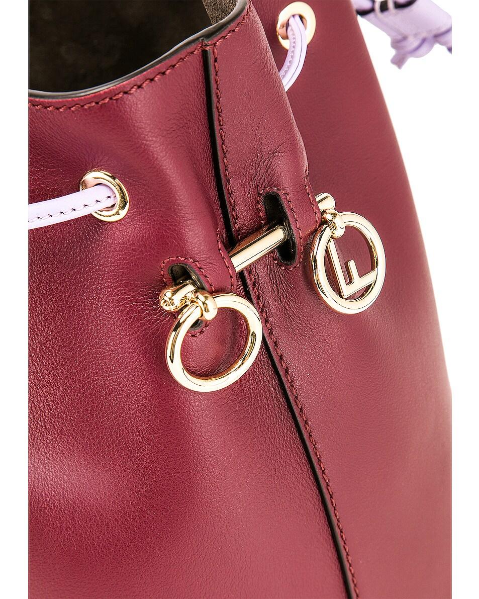 Image 8 of Fendi Mon Tresor Colorblock Crossbody Bag in Burgundy & White