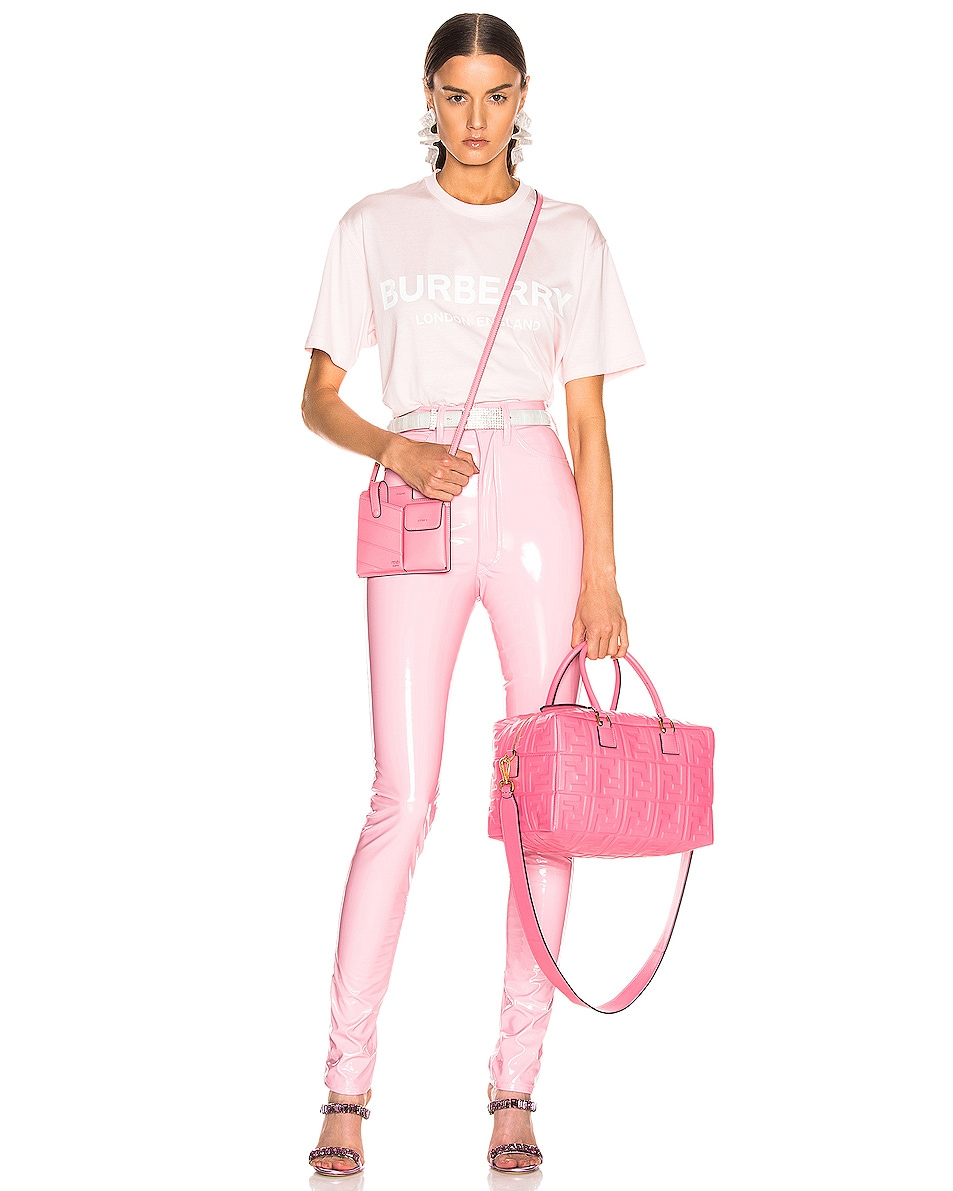 Image 2 of Fendi Logo Crossbody Duffel in Fluo Pink