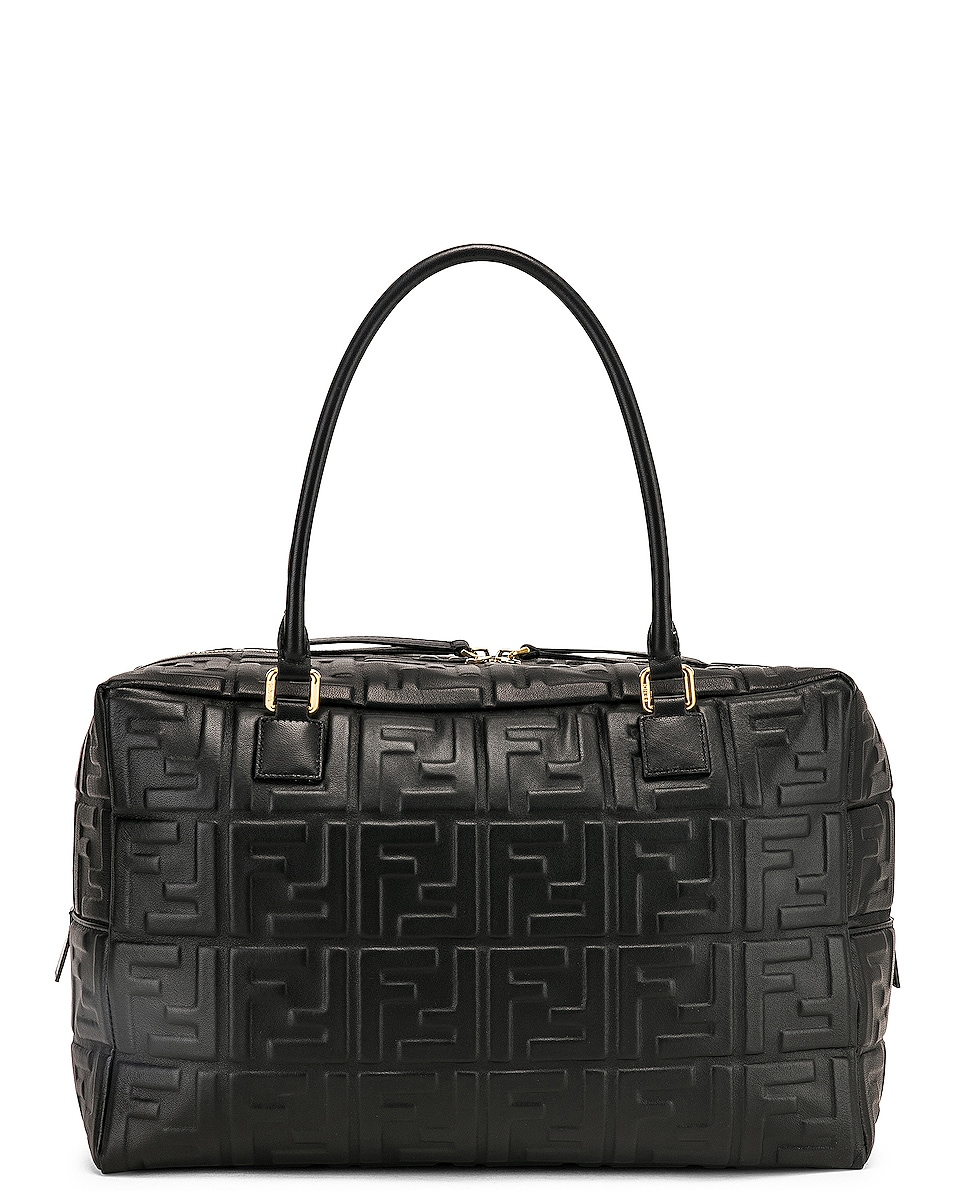 Image 3 of Fendi Large Boston Logo Duffel Bag in Black
