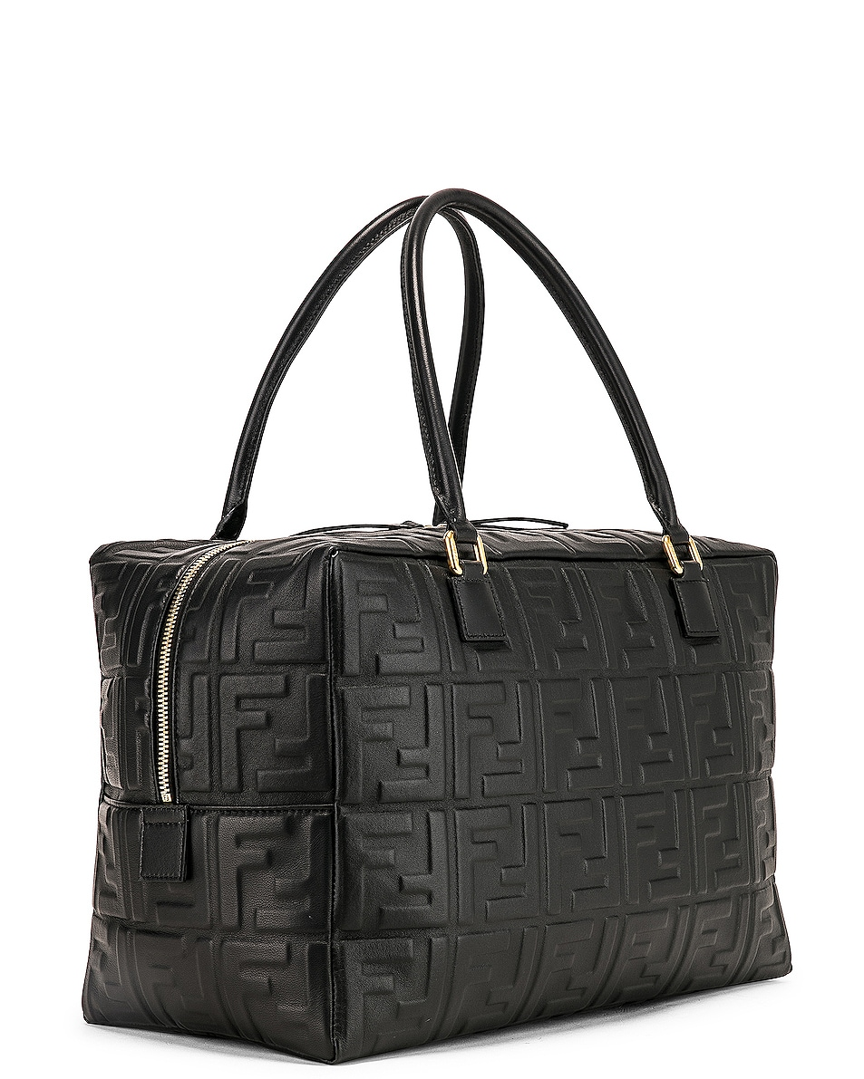 Image 4 of Fendi Large Boston Logo Duffel Bag in Black