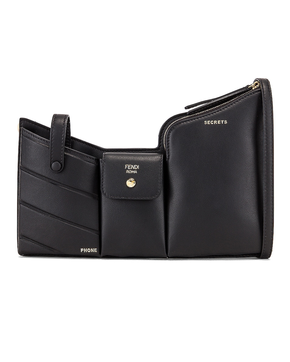 Image 1 of Fendi Mini Three Pocket Crossbody Bag in Black