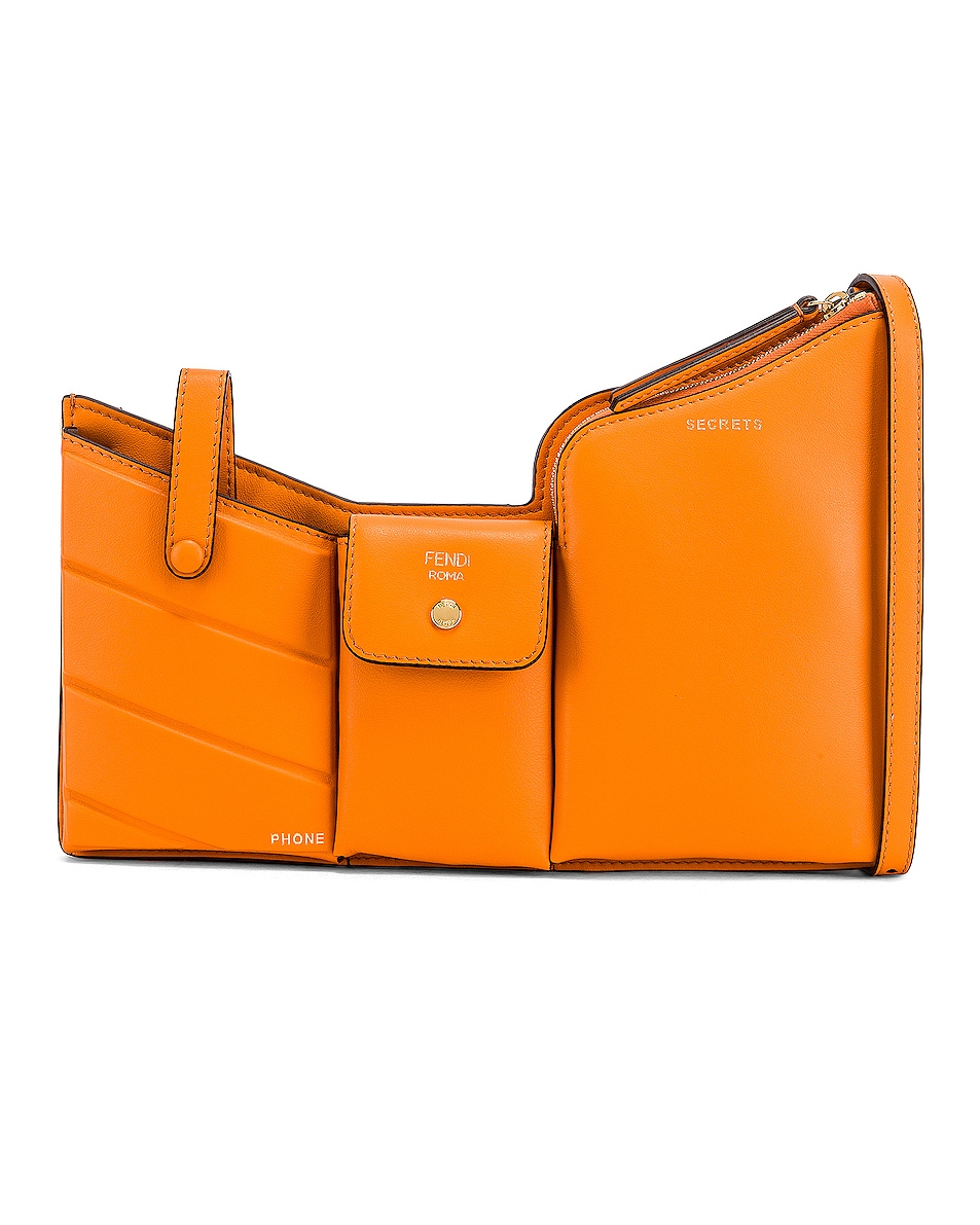 Image 1 of Fendi Mini Three Pocket Crossbody in Orange