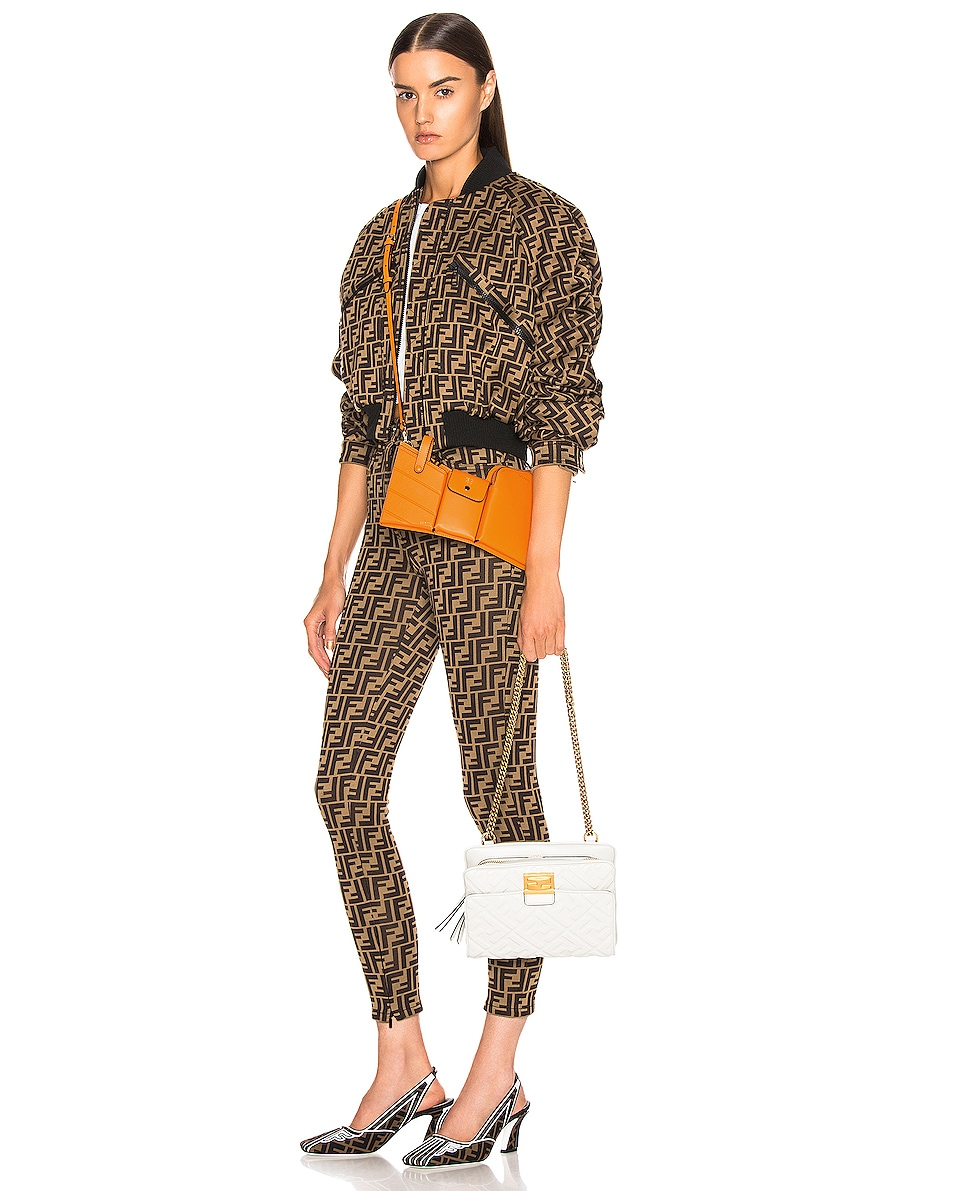 Image 2 of Fendi Mini Three Pocket Crossbody in Orange