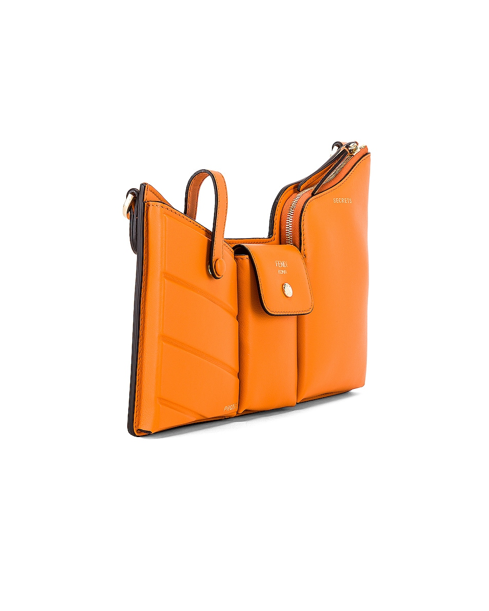 Image 4 of Fendi Mini Three Pocket Crossbody in Orange