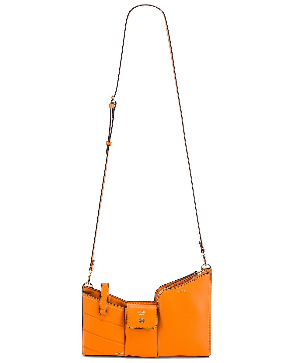 Image 6 of Fendi Mini Three Pocket Crossbody in Orange