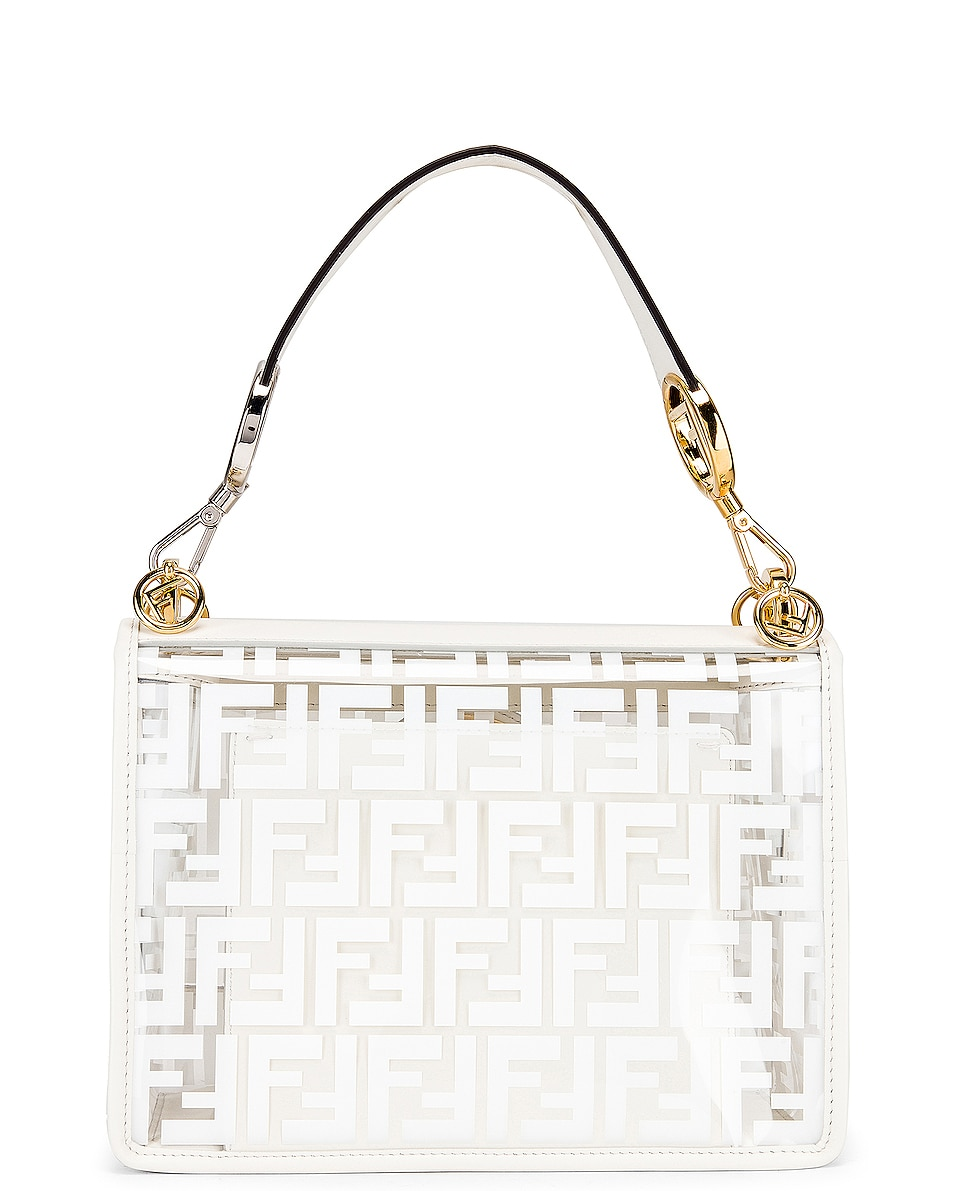 Image 3 of Fendi Kan I Logo Crossbody Bag in White