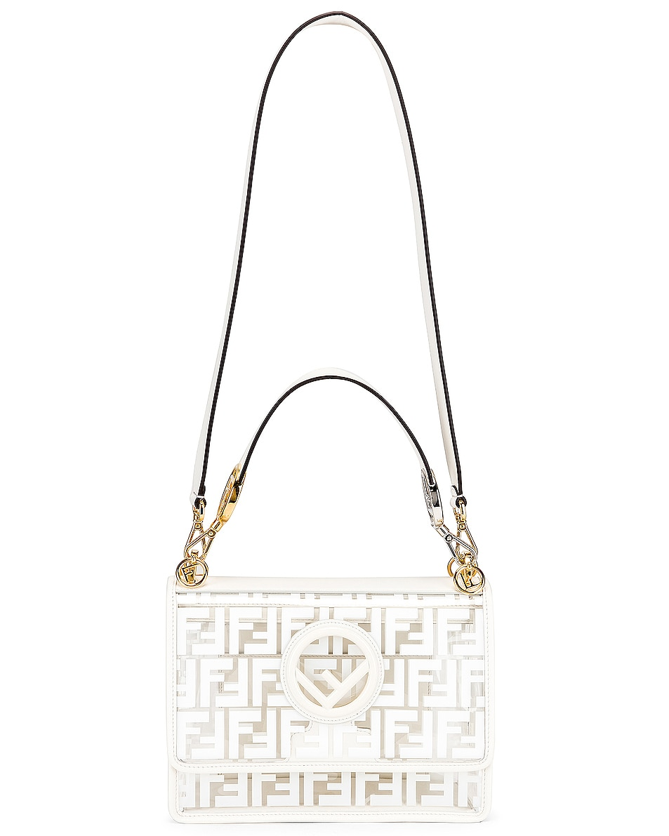 Image 6 of Fendi Kan I Logo Crossbody Bag in White