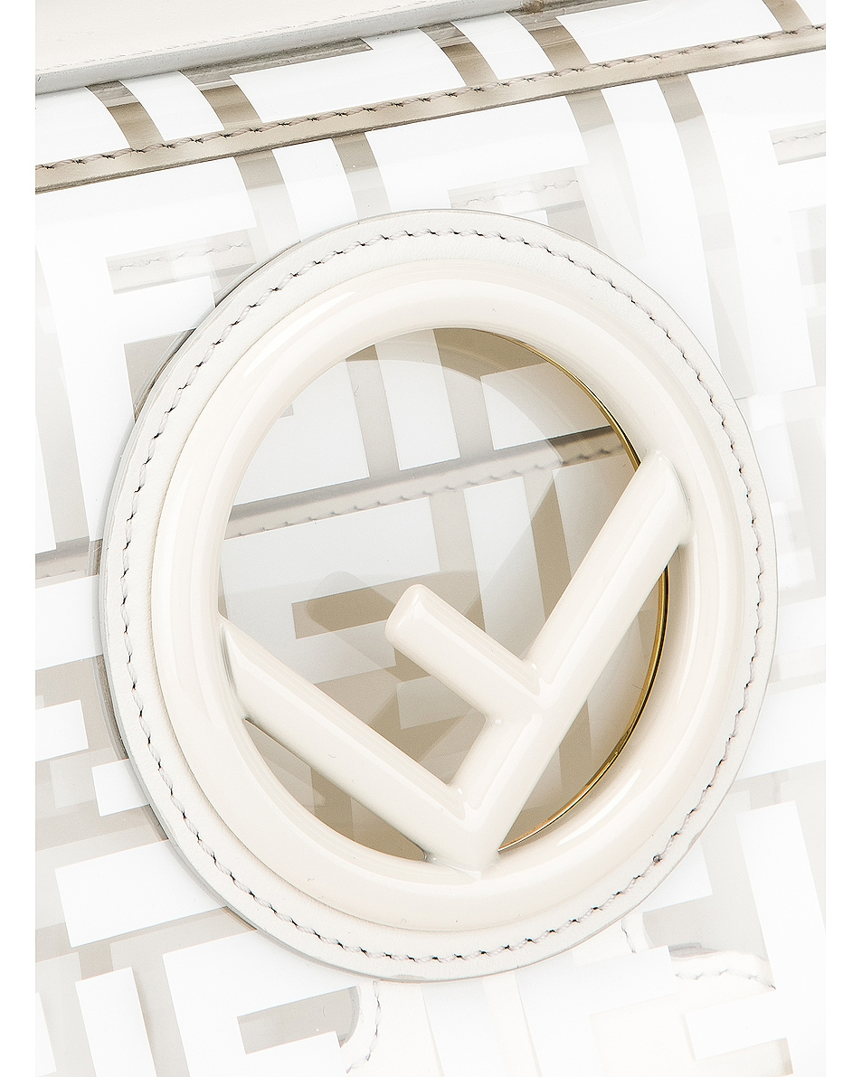 Image 8 of Fendi Kan I Logo Crossbody Bag in White