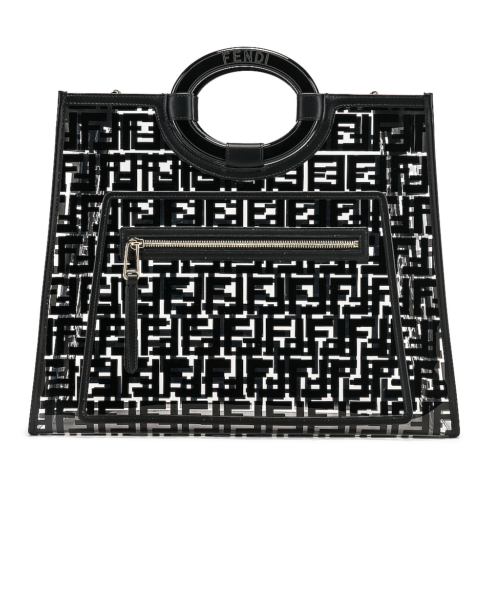 Image 1 of Fendi Runaway Shopping Logo Tote in Black