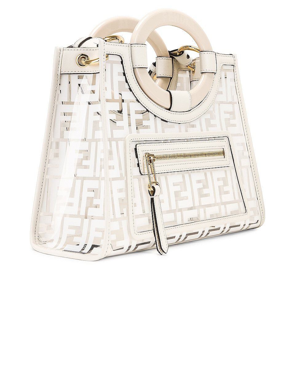 Image 4 of Fendi Mini Runaway Shopper Tote in White