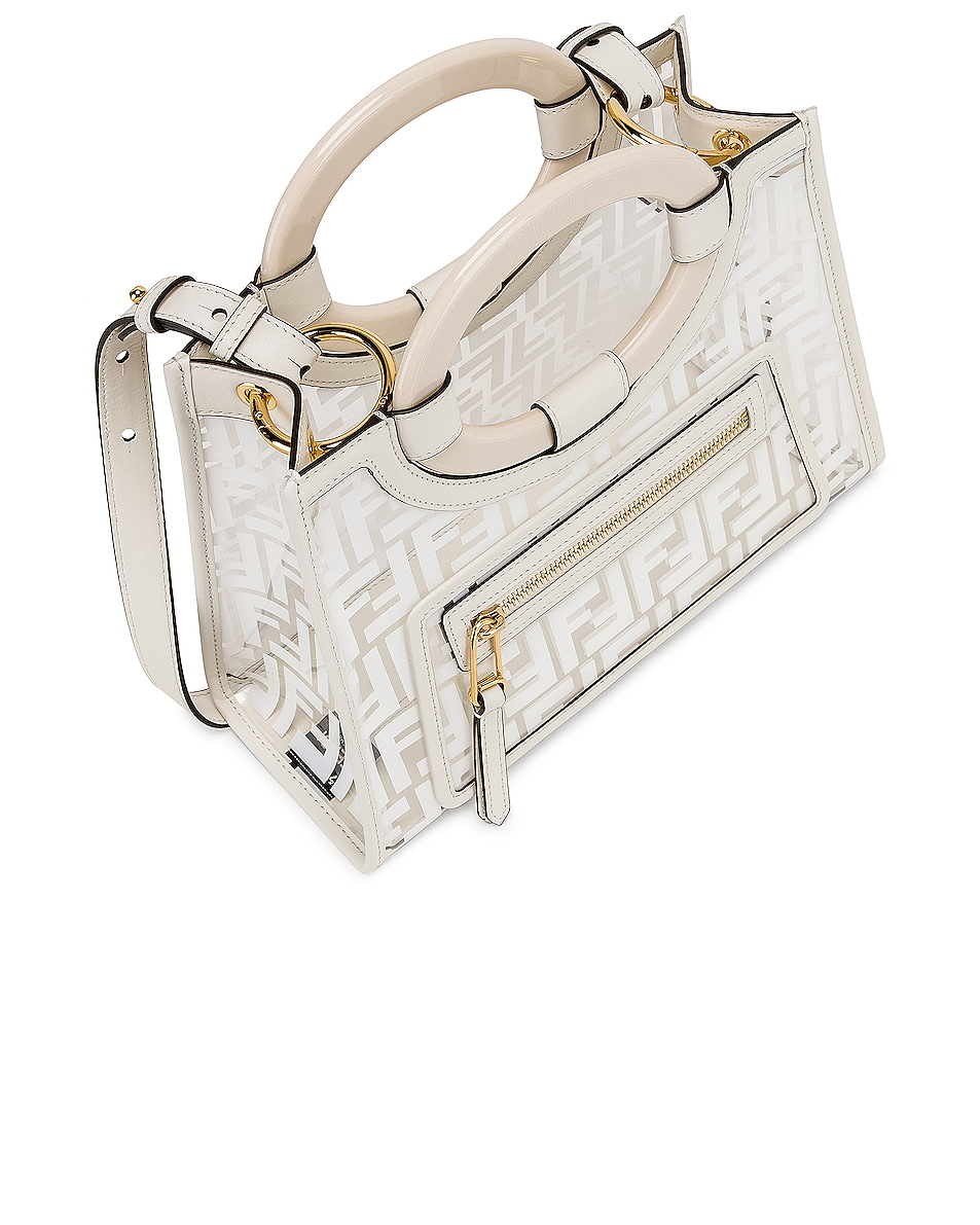 Image 5 of Fendi Mini Runaway Shopper Tote in White