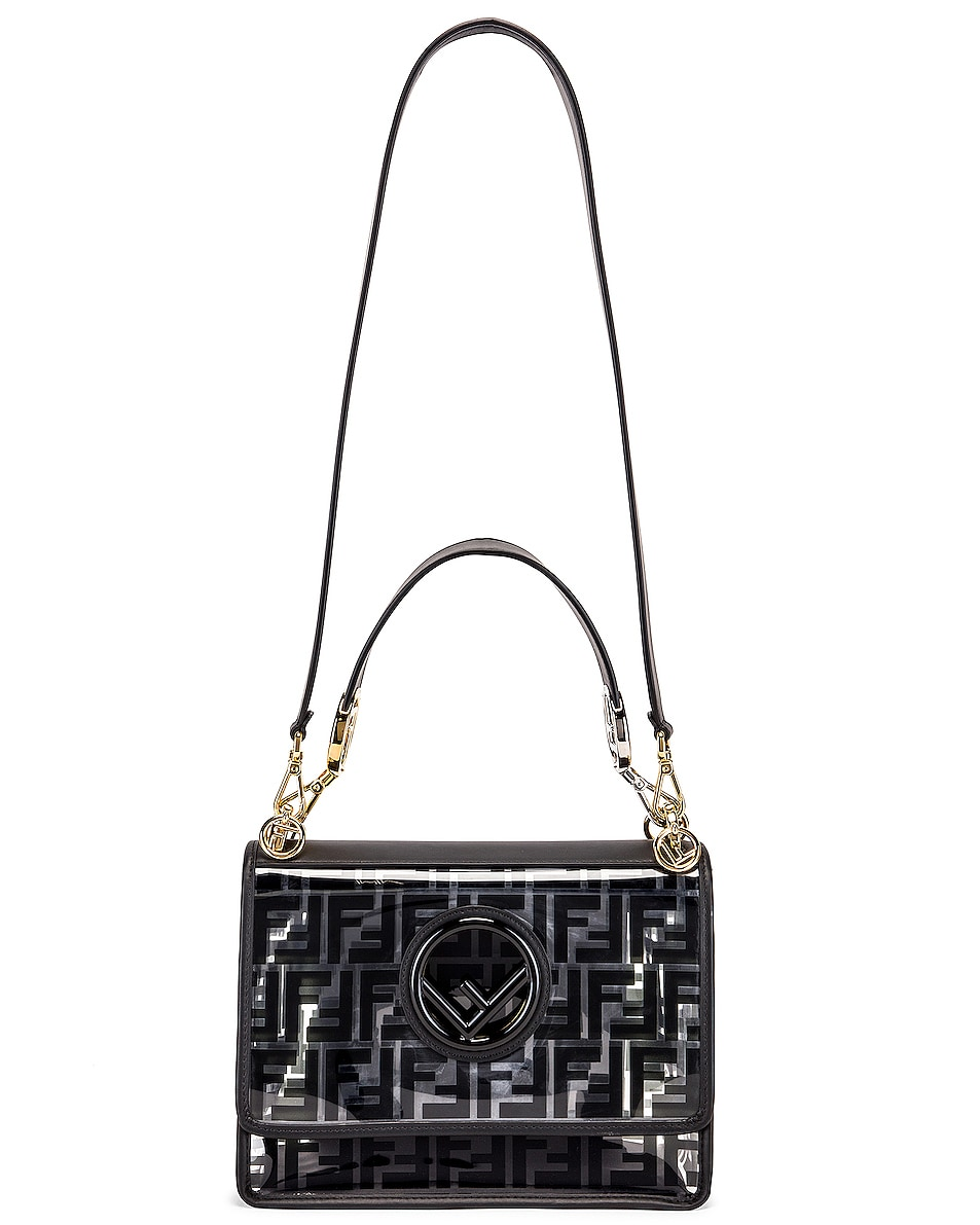 Image 6 of Fendi Kan I Logo Crossbody Bag in Black