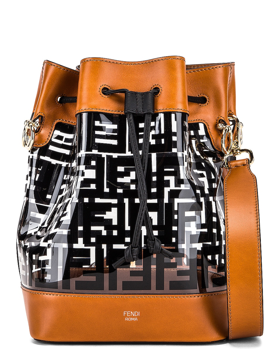 Image 1 of Fendi Mon Tresor Logo Crossbody Bag in Black & Brown