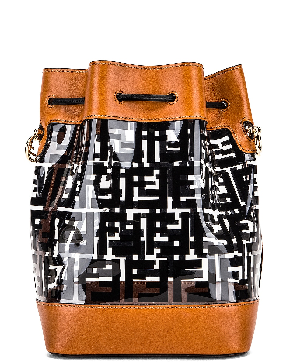 Image 3 of Fendi Mon Tresor Logo Crossbody Bag in Black & Brown