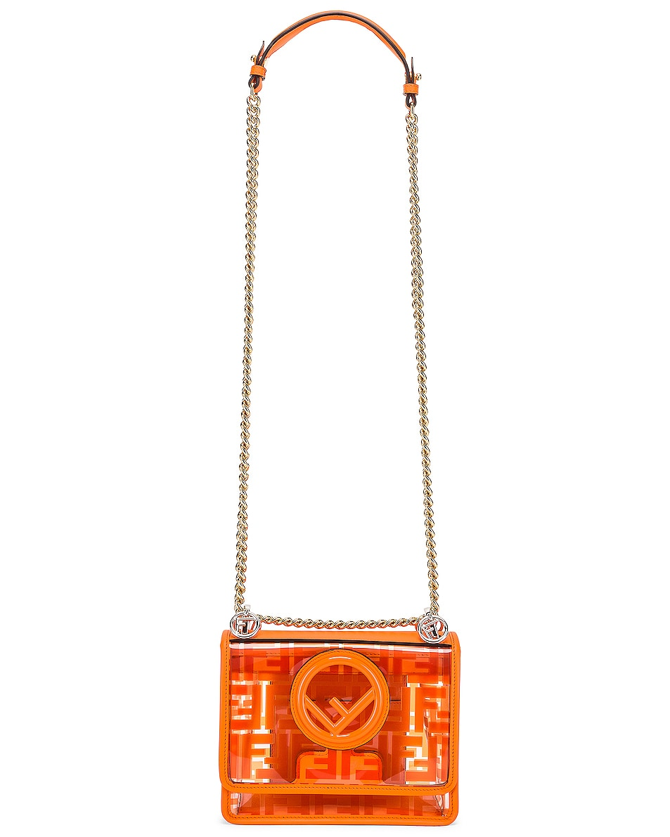 Image 6 of Fendi Kan I Small Logo Crossbody Bag in Orange