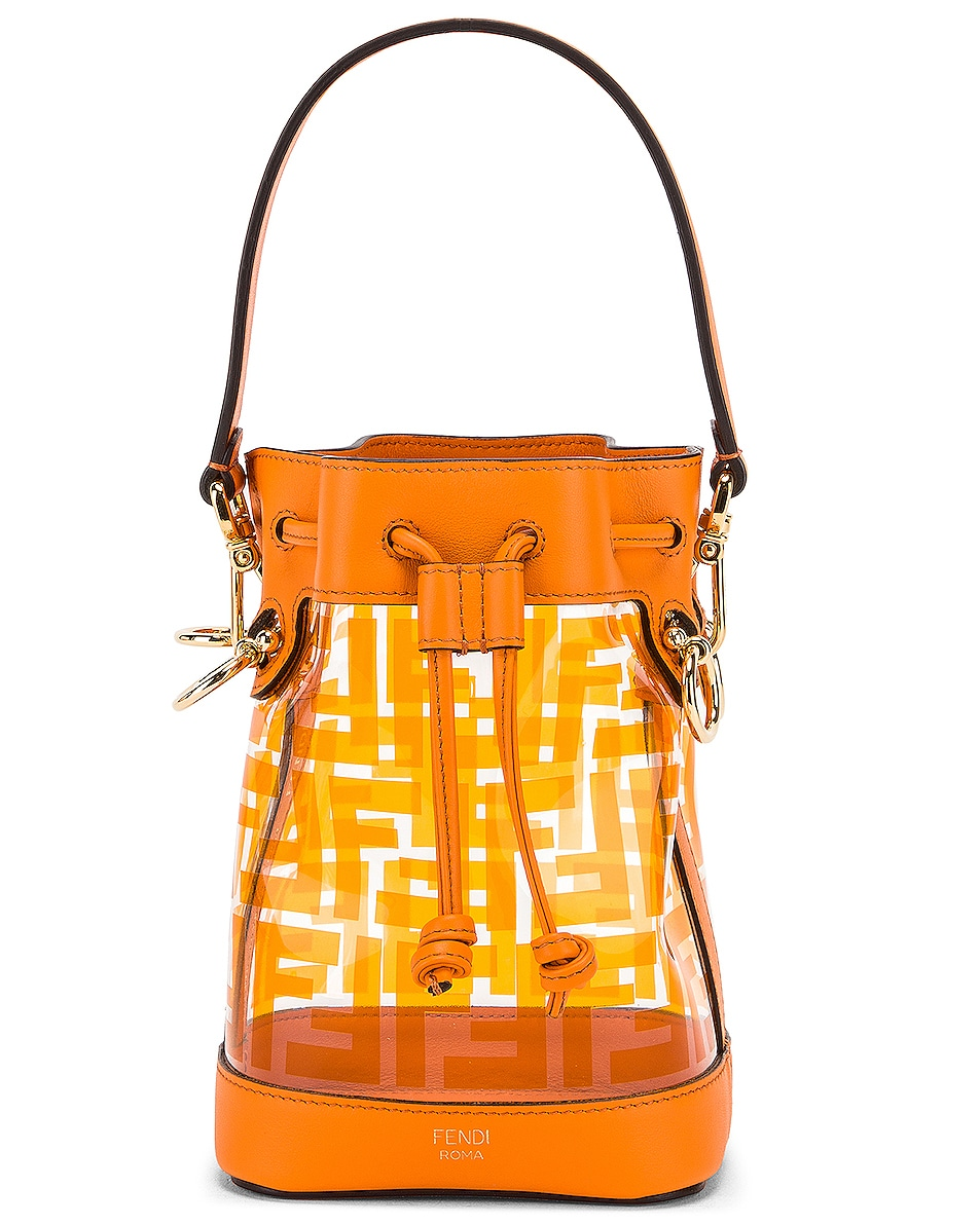 Image 1 of Fendi Mini Mon Tresor Logo Crossbody Bag in Orange