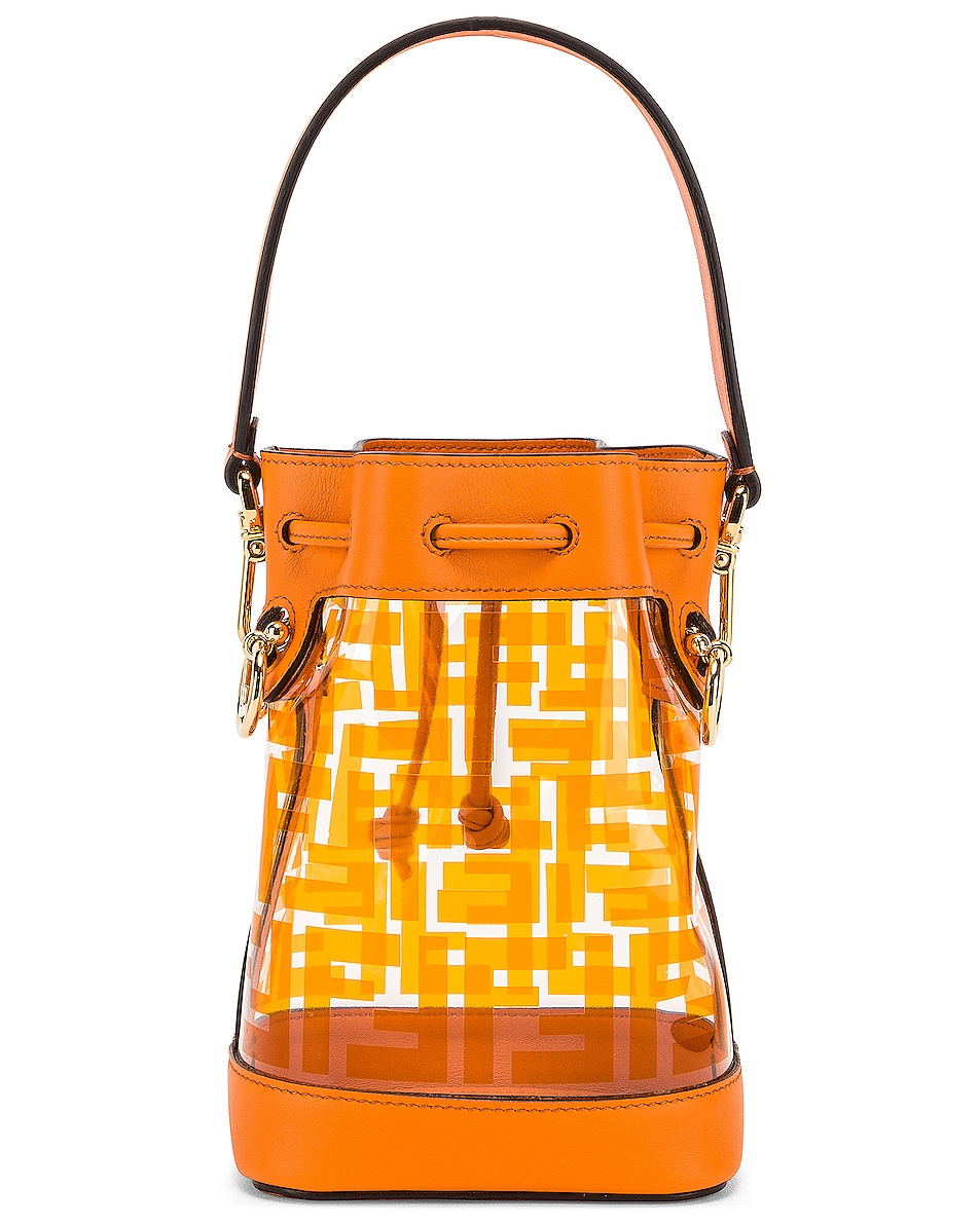 Image 3 of Fendi Mini Mon Tresor Logo Crossbody Bag in Orange
