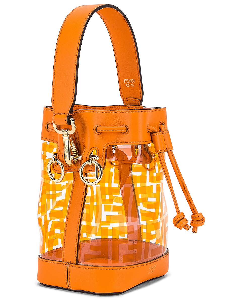 Image 4 of Fendi Mini Mon Tresor Logo Crossbody Bag in Orange
