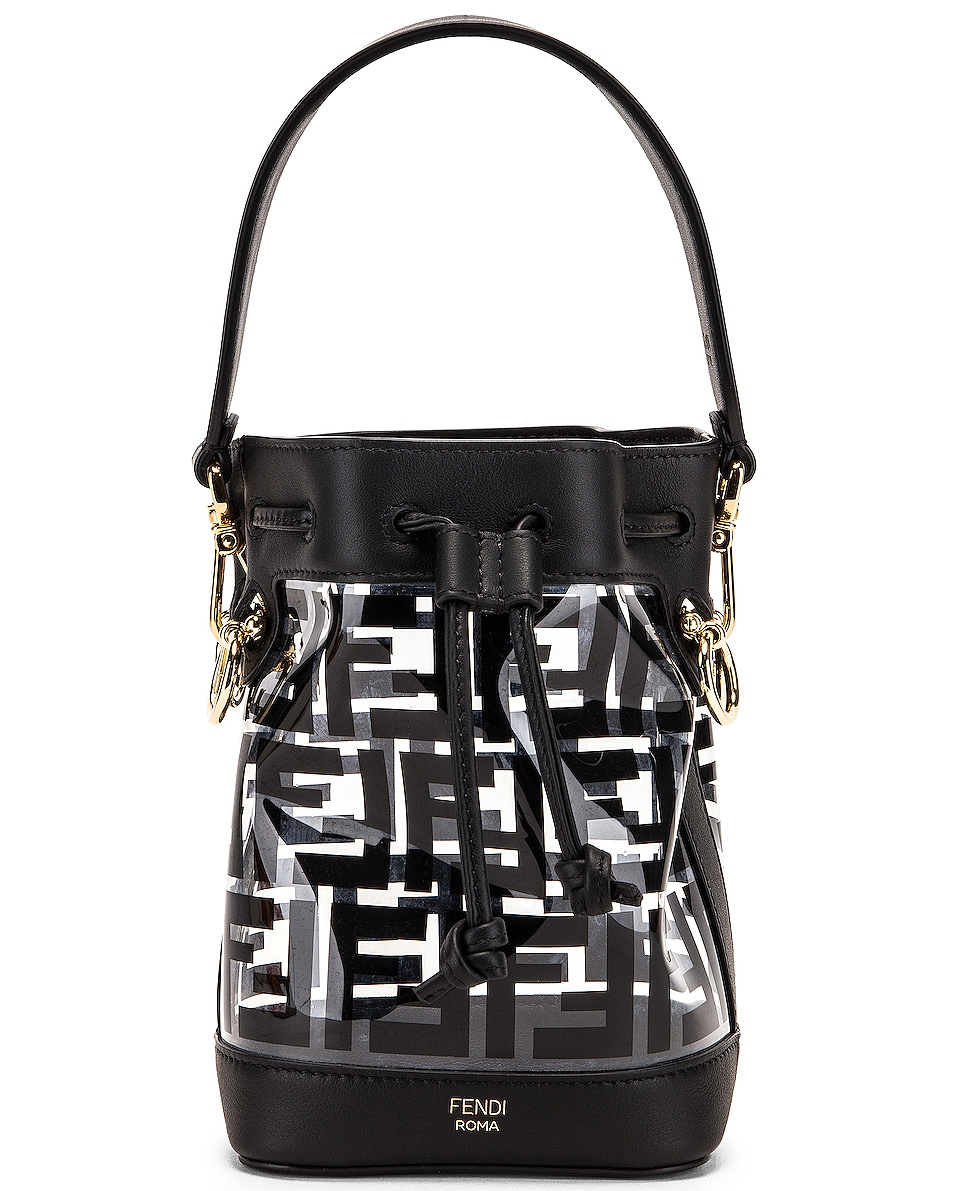 Image 1 of Fendi Mini Mon Tresor Logo Crossbody Bag in Black