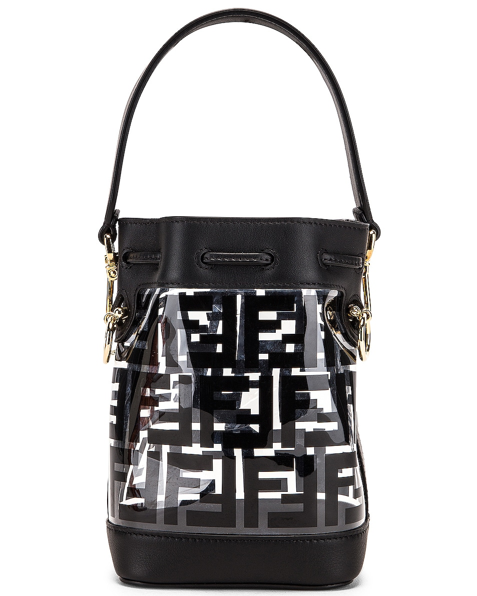 Image 3 of Fendi Mini Mon Tresor Logo Crossbody Bag in Black