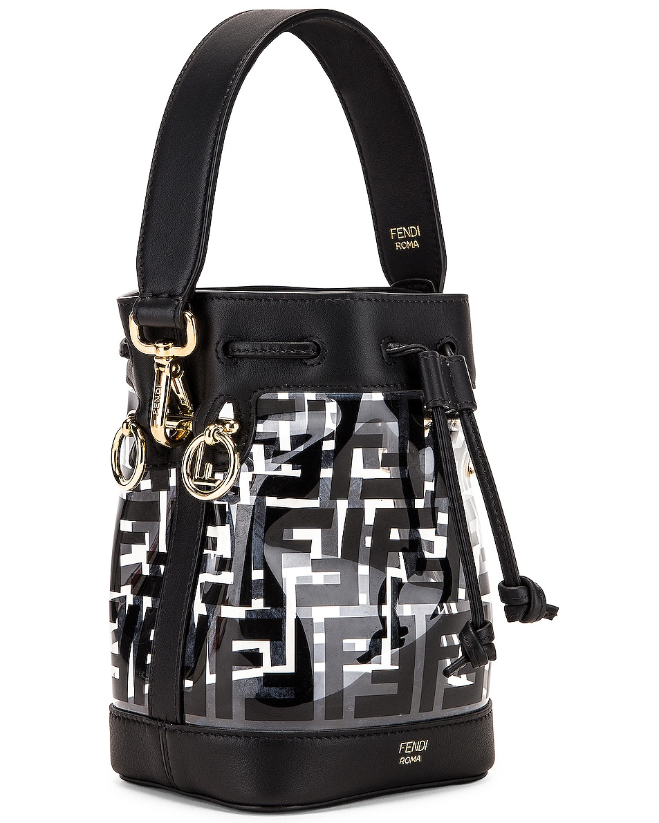 Image 4 of Fendi Mini Mon Tresor Logo Crossbody Bag in Black