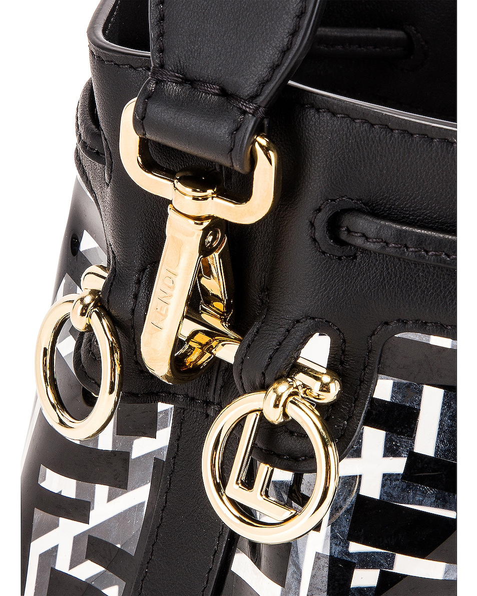 Image 8 of Fendi Mini Mon Tresor Logo Crossbody Bag in Black