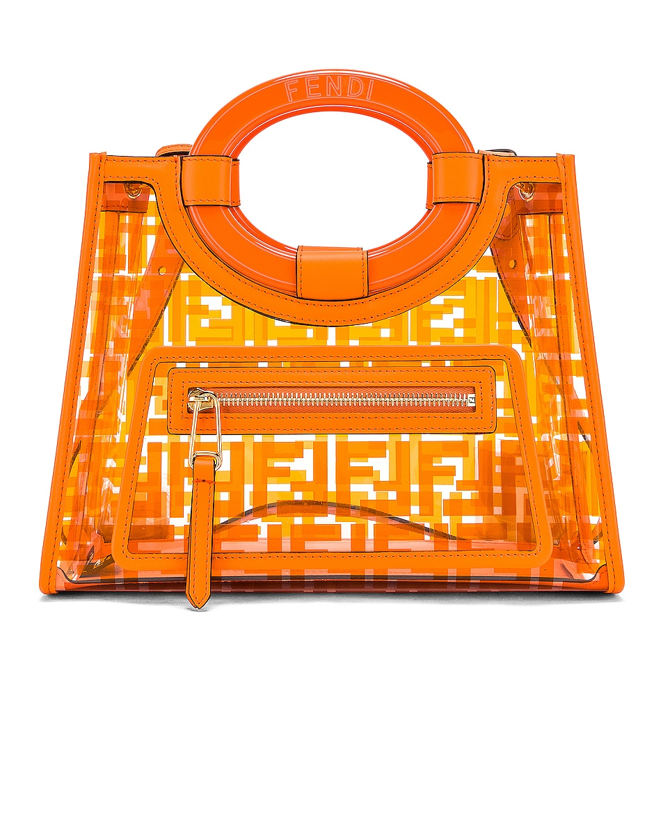 Image 1 of Fendi Mini Runaway Shopping Logo Tote in Orange