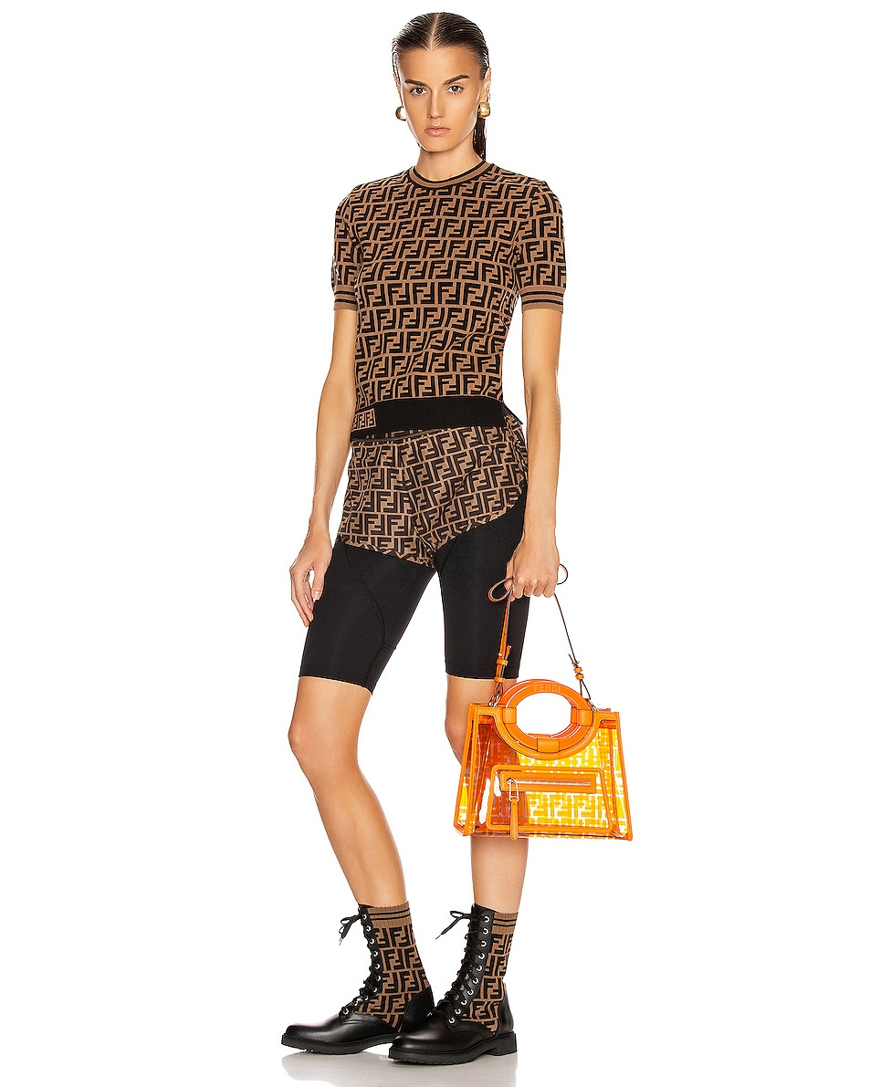 Image 2 of Fendi Mini Runaway Shopping Logo Tote in Orange