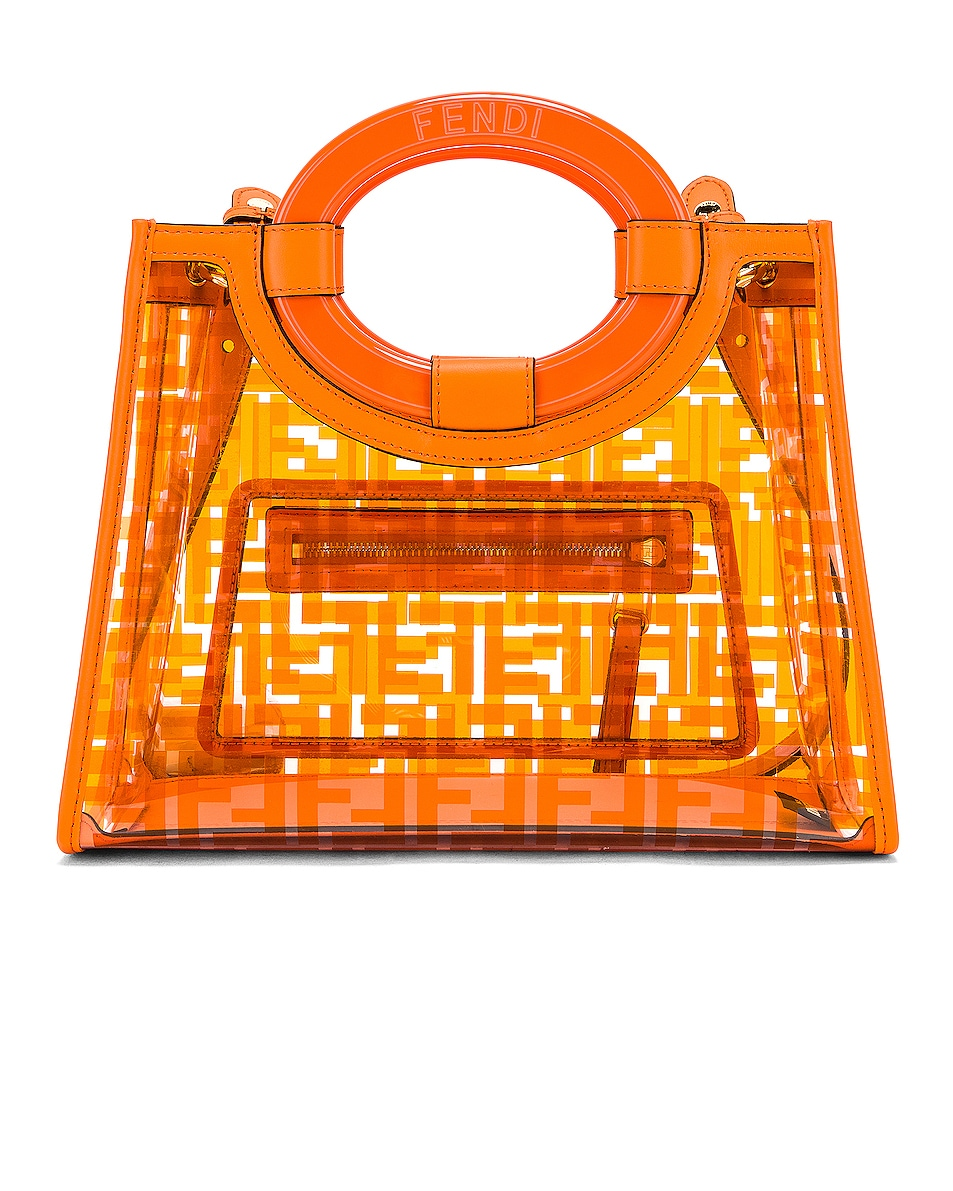 Image 3 of Fendi Mini Runaway Shopping Logo Tote in Orange
